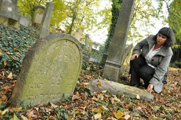 Povalené náhrobky na židovském hřbitově v Břeclavi