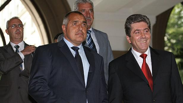 Bulharský prezident Georgi Parvanov a bulharský premiér Bojko Borisov