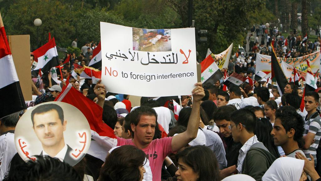 Protest na podporu syrského prezidenta
