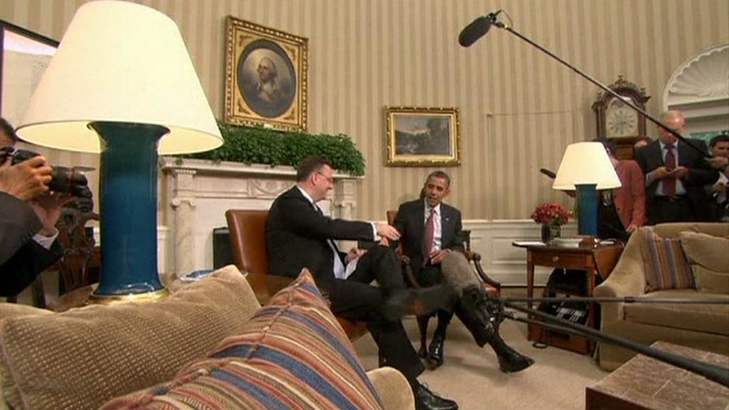 Petr Nečas a Barack Obama před novináři