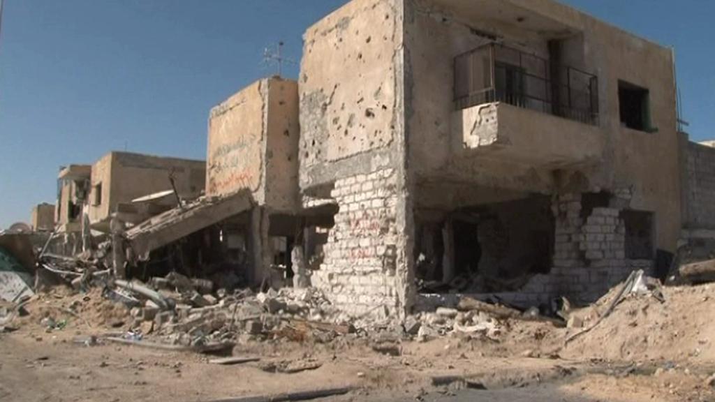 Poničené domy v Misurátě