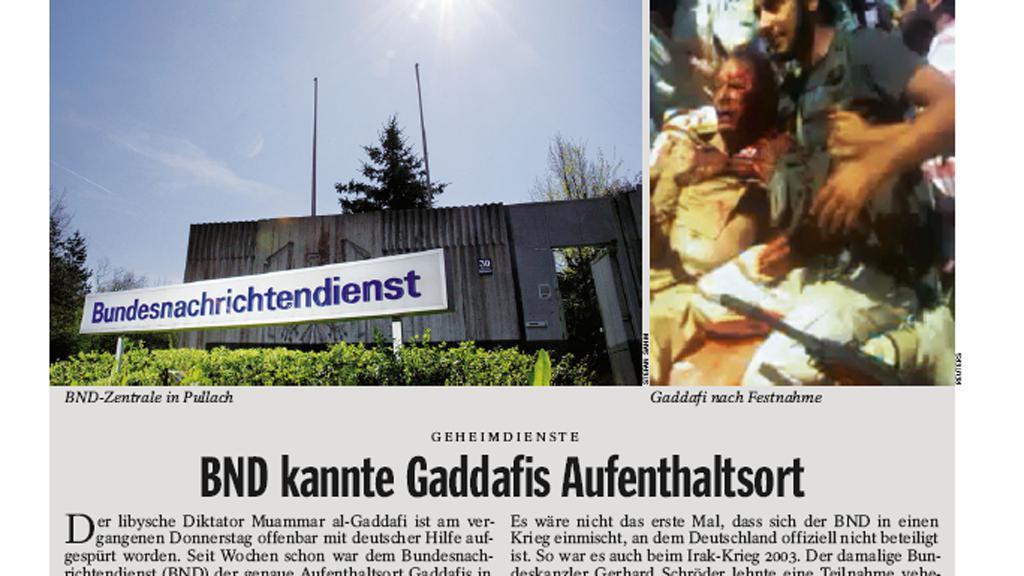 Der Spiegel: BND věděla, kde je Kaddáfí