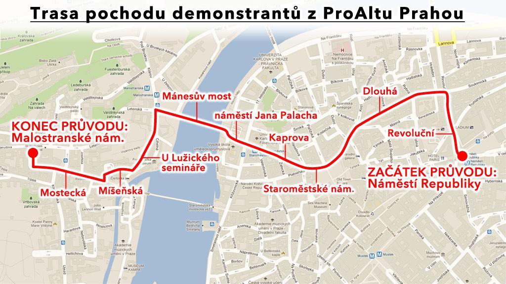 Trasa průvodu Prahou