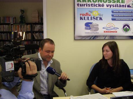 Natáčení reportáže ČT o dětském Radiu Kulíšek