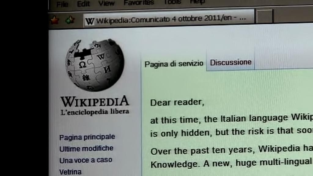 Italská Wikipedia je dočasně odpojena