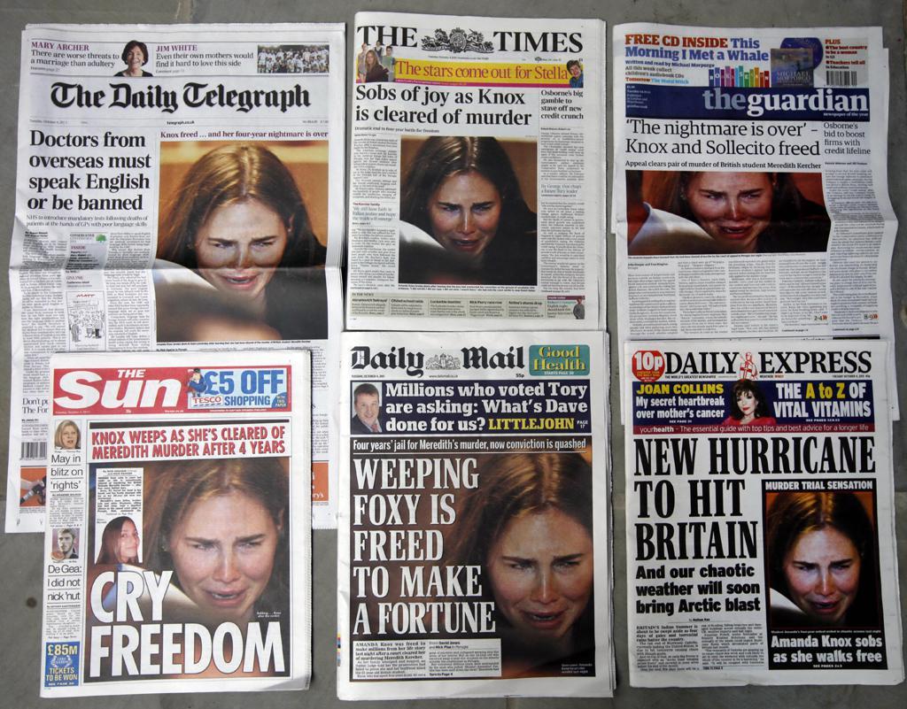 Média informují o osvobození Amandy Knoxové
