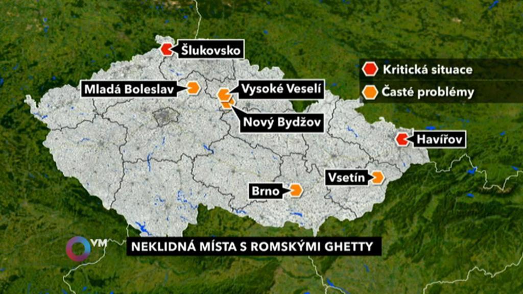 Neklidná místa s romskými ghetty