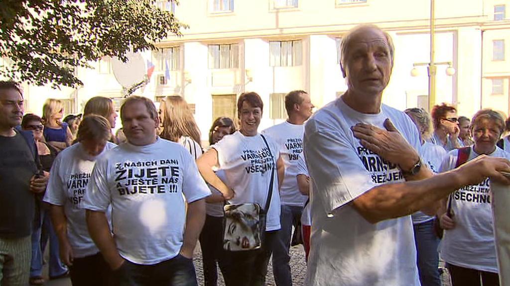 Demonstranti z Varnsdorfu