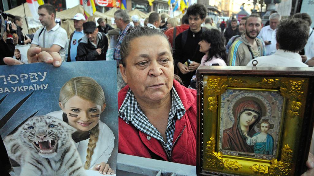 Demonstrace stoupenců Julije Tymošenkové