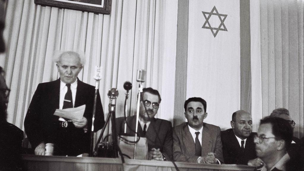 Čtení deklarace samostatnosti izraelského státu - rok 1948