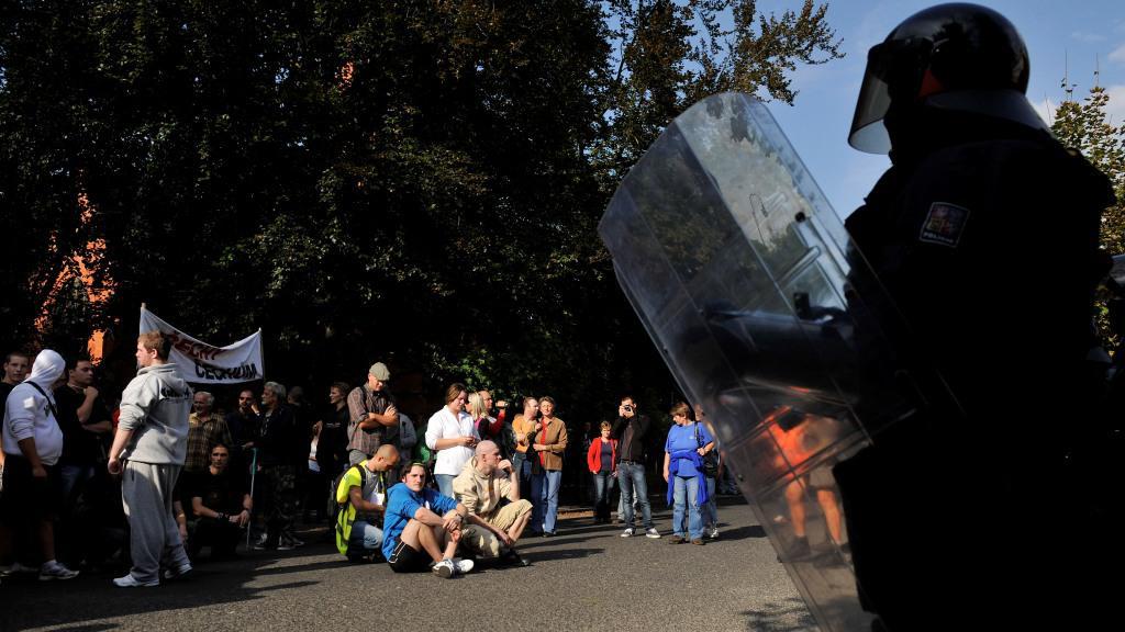Protiromská demonstrace ve Varnsdorfu