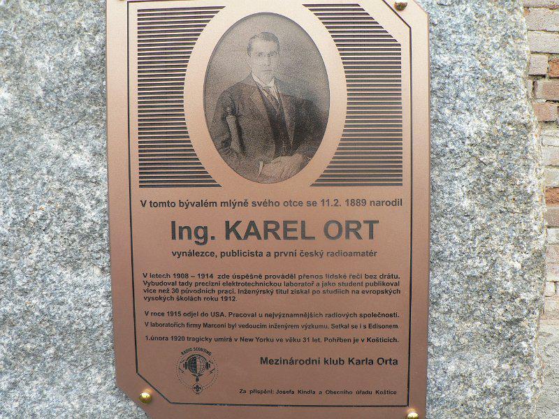 Pamětní deska - Ing. Karel Ort
