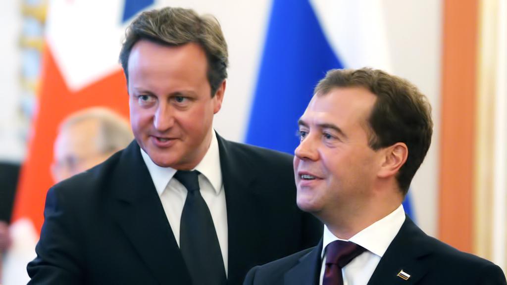 David Cameron a Dmitrij Medvěděv