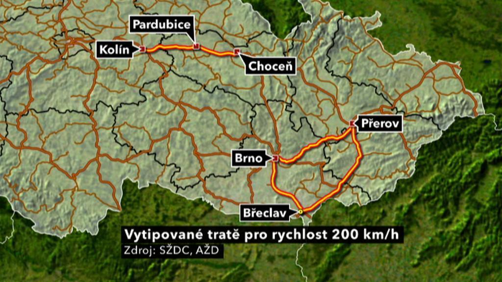 Vytipované tratě pro rychlost 200 km/h