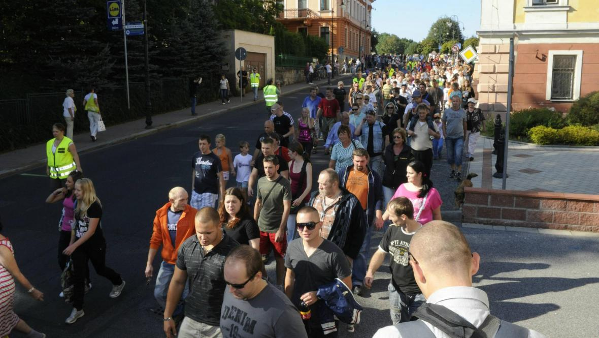 Protestní pochod ve Varnsdorfu
