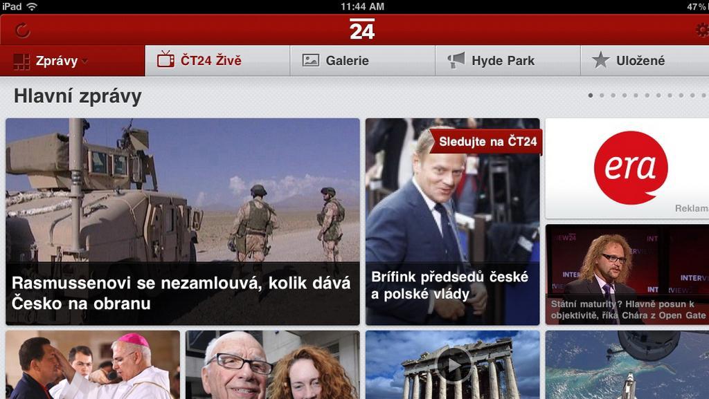 Zpravodajství ČT24 v iPadu