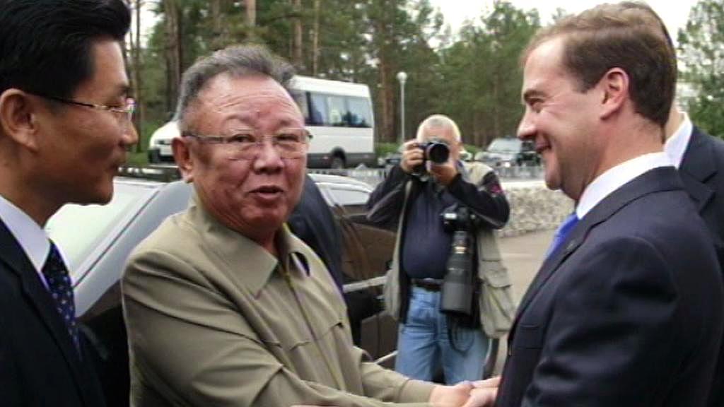 Kim Čong-il a Dmitrij Medvěděv
