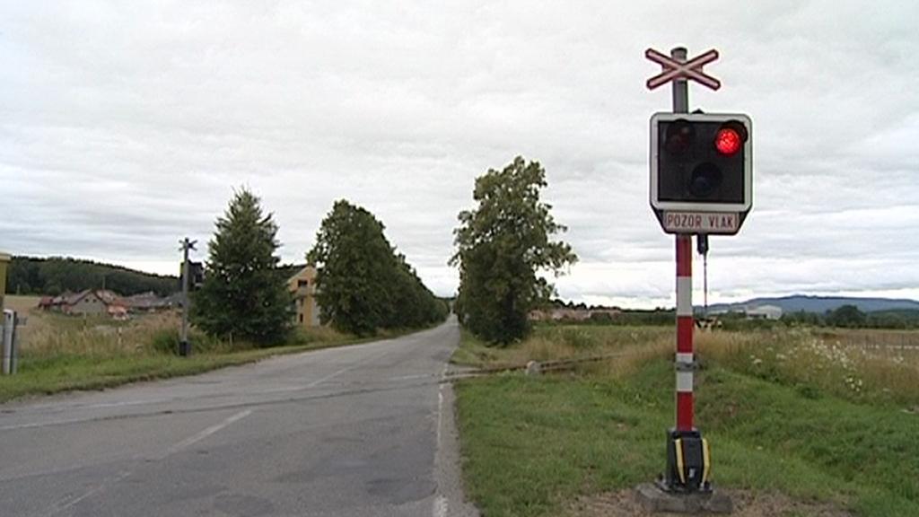 Signalizační zařízení přejezdu v činnosti