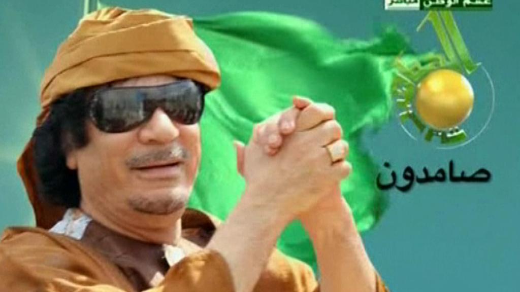 Muammar Kaddáfí v televizním projevu