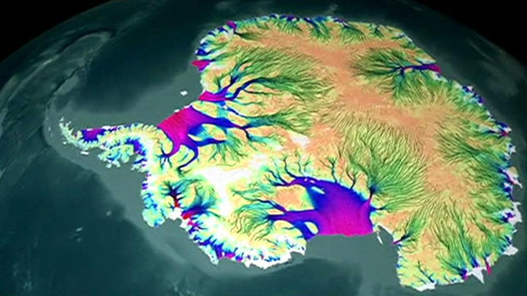 Počítačová mapa proudění ledovců na Antarktidě