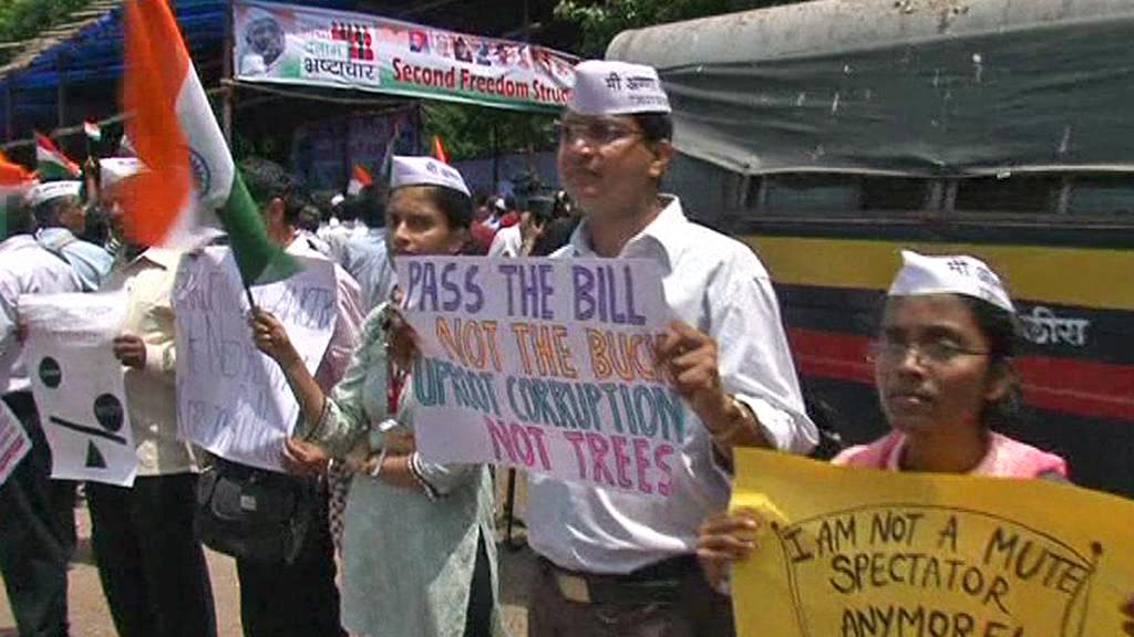 Demonstrace na podporu Anny Hazareho