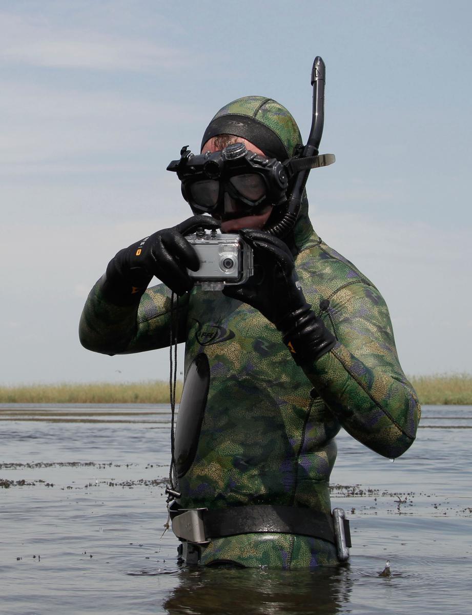 Fotografování v potápěčském Medveděva vysloveně bavilo