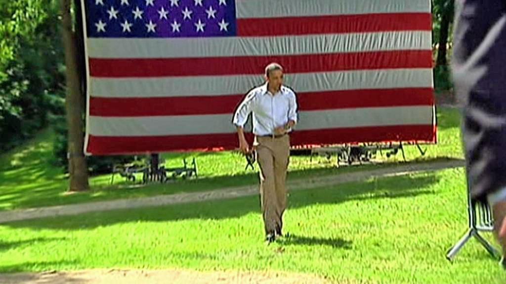 Barack Obama na setkání s voliči v Cannon Falls