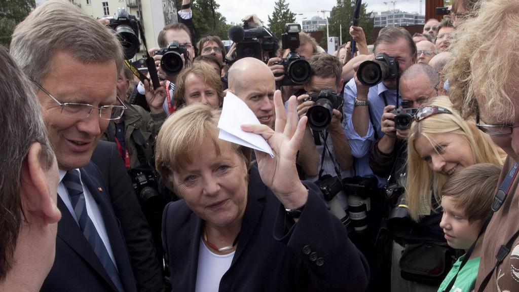 Angela Merkelová během výročí pádu Berlínské zdi