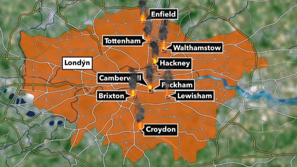 Mapa londýnských oblastí postižených nepokoji