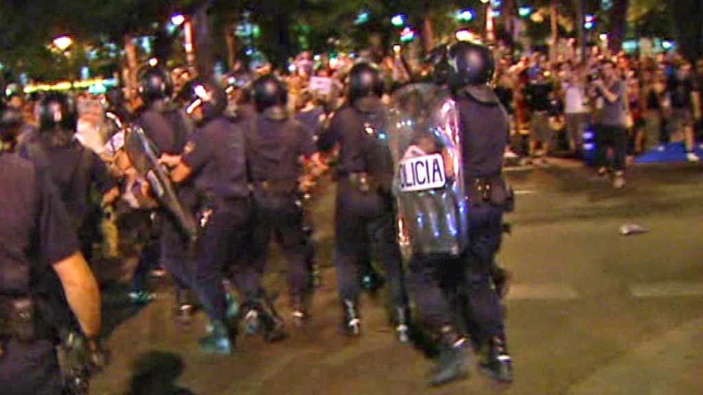 Zásah španělské policie proti demonstrantům