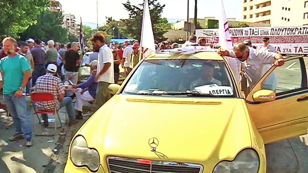 Stávka řeckých taxikářů