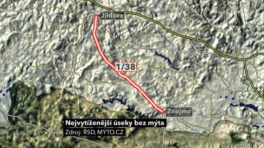 Silnice první třídy 1/38 z Jihlavy do Znojma