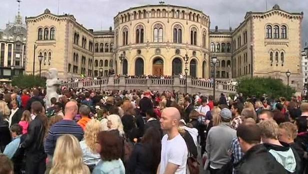 Smuteční shromáždění v Oslu, Norsko