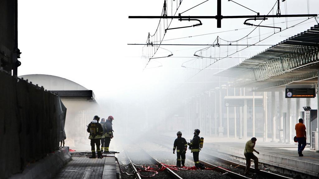 Požár na římském nádraží Tiburtina