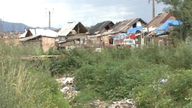 Romská osada v rumunském Baia Mare