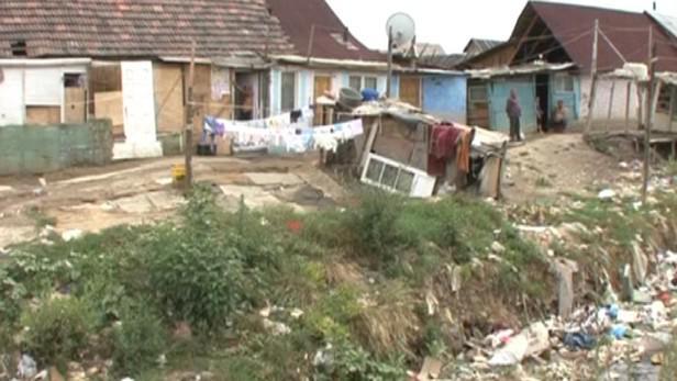 Romské sídliště v rumunském Baia Mare