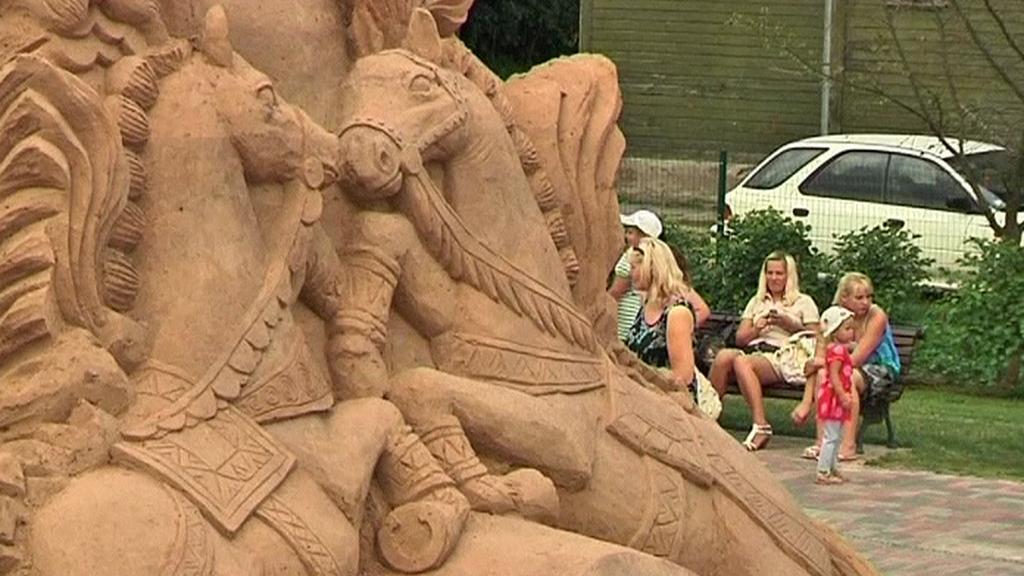 Písečná socha v lotyšské Jelgavě