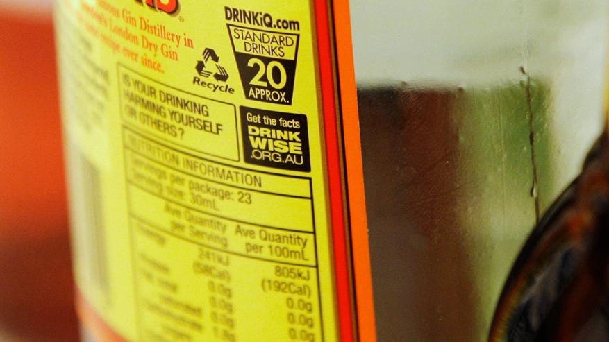 Zdravotní varování na australské lahvi s alkoholem