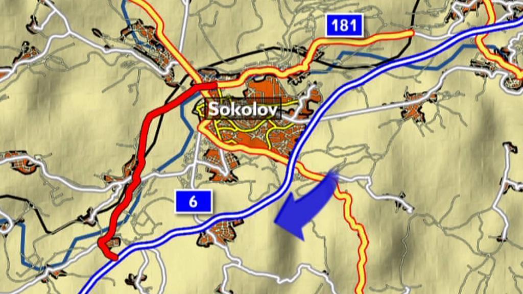 Objížďka R6 přes Sokolov
