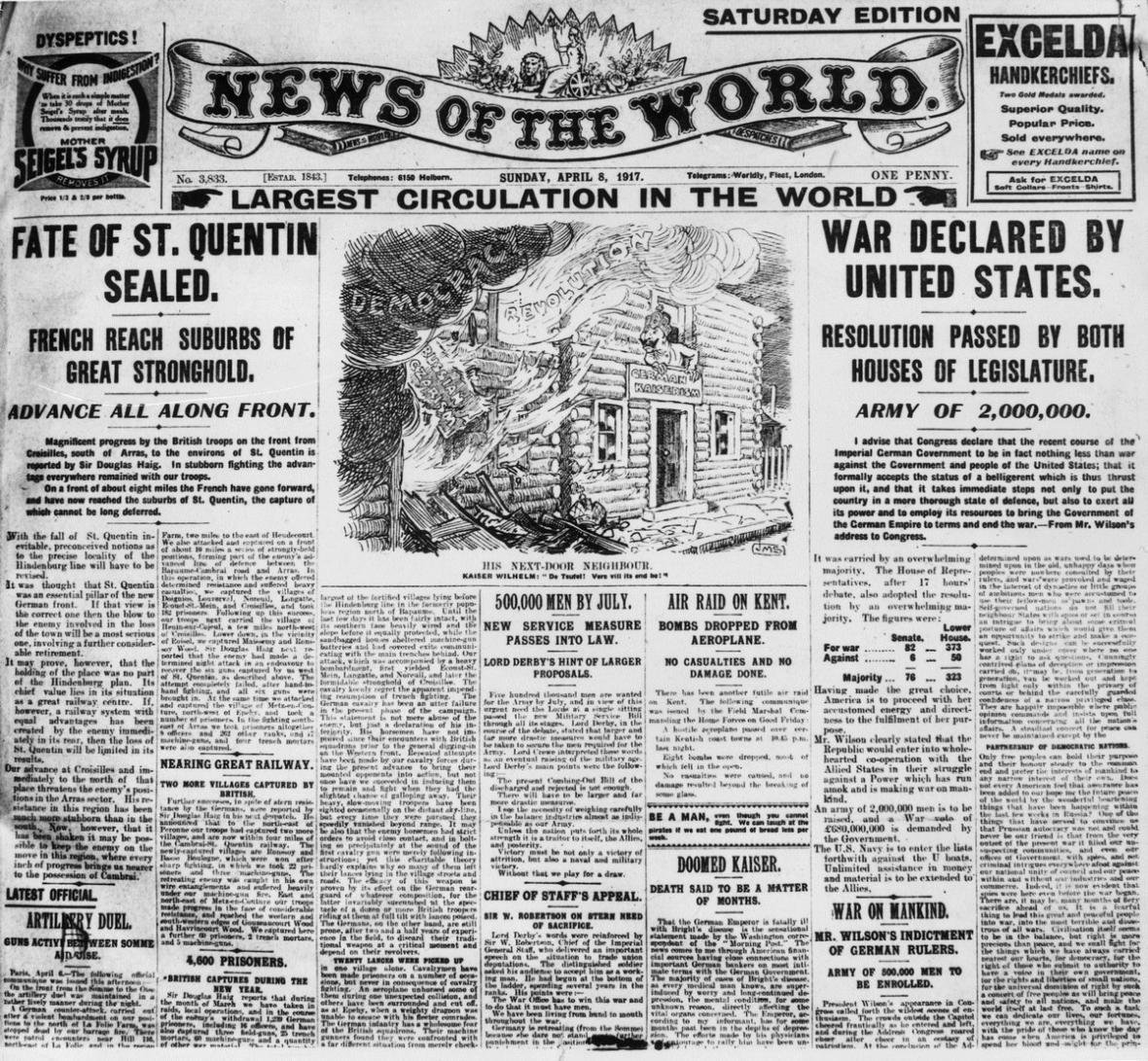 Vydání News of the World z roku 1917