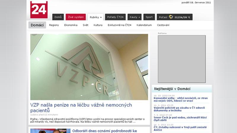 Nový web ČT24 - rubrika Domácí