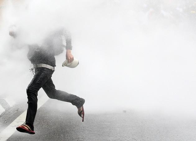 Policie použila na demonstranty slzný plyn