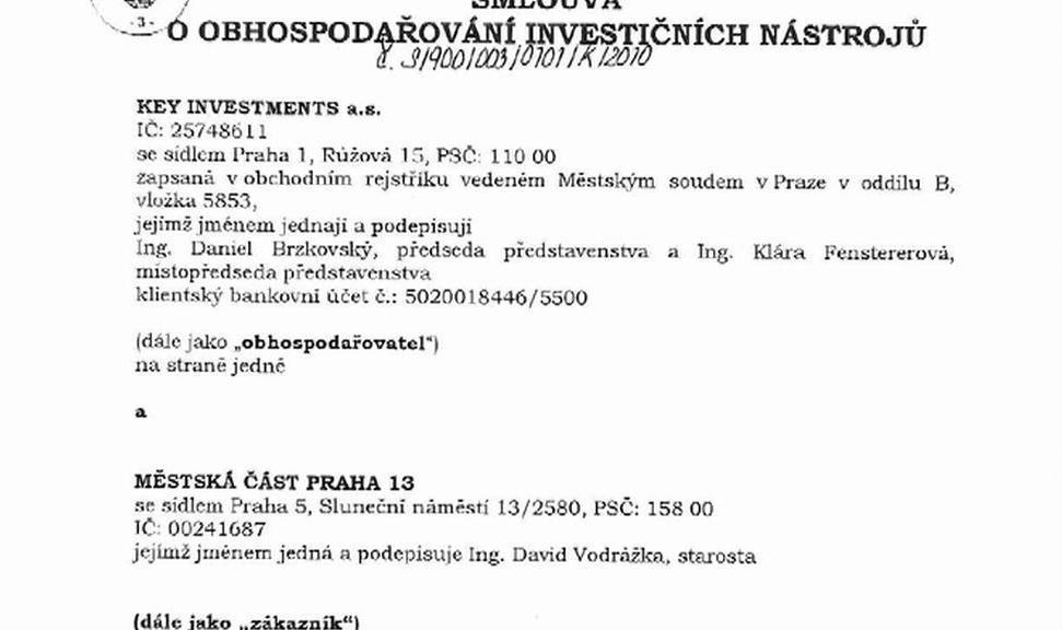 Smlouva Prahy 13 s Key Investments