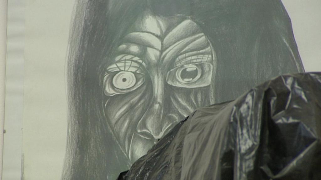 Detail vystavovaného obrazu
