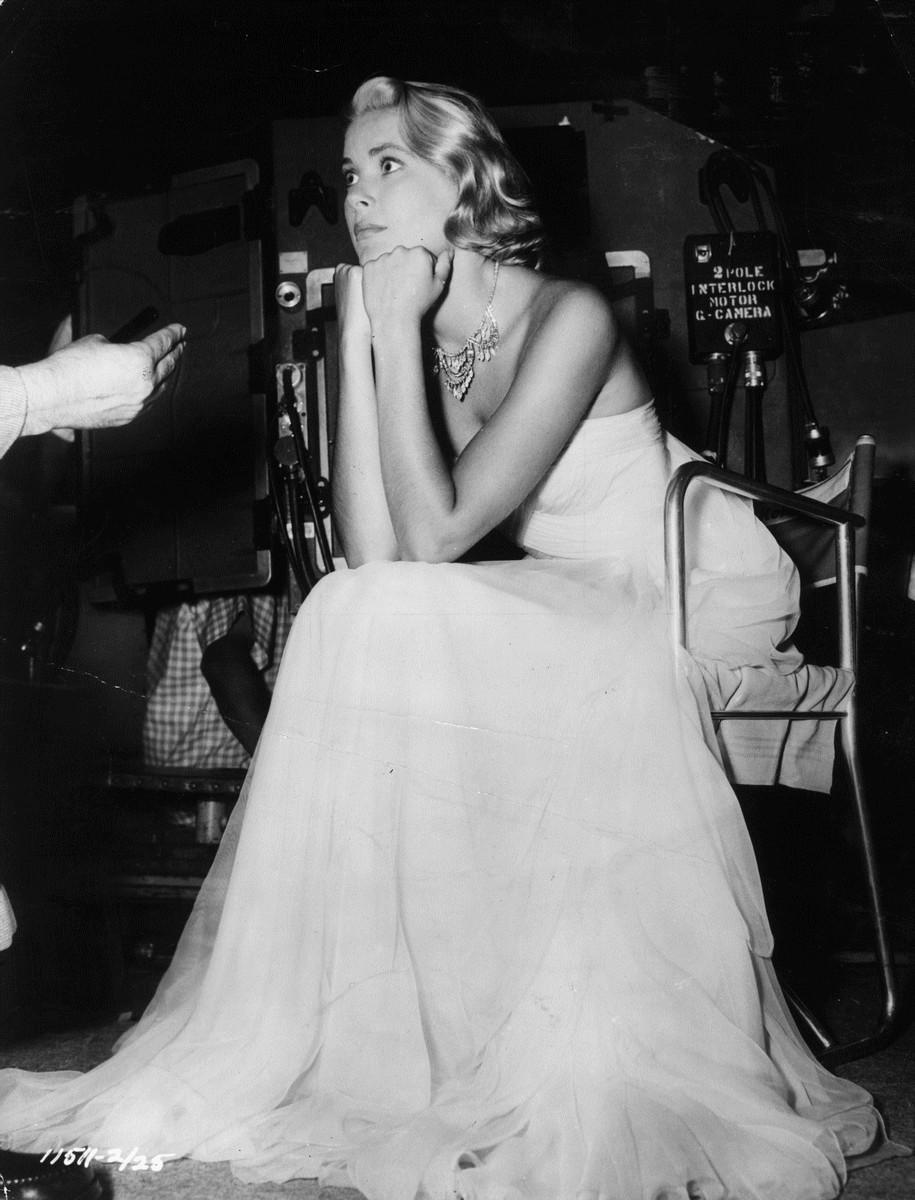Grace Kellyová při natáčení filmu Chyťte zloděje