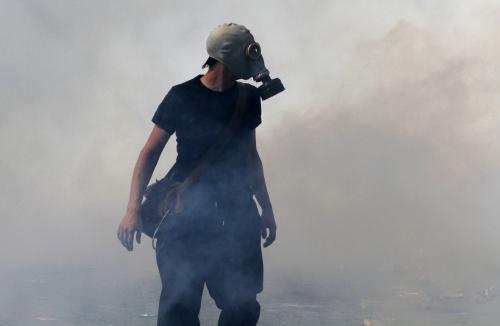 Centrum Atén zahalil slzný plyn