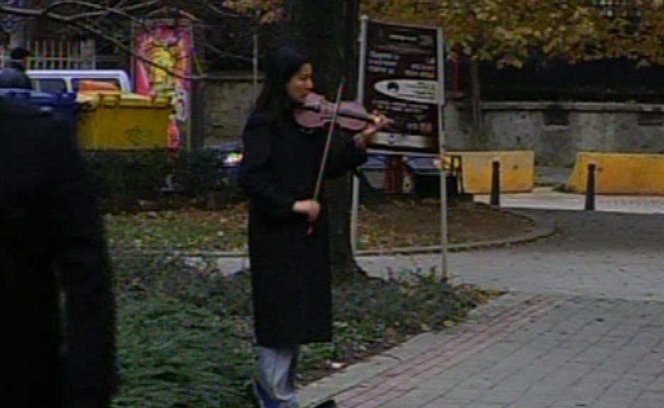 Pouliční hudebník v Sofii