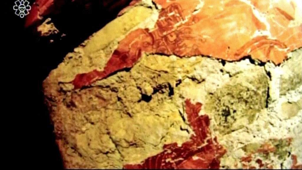 Vnitřek hrobky mayského panovníka