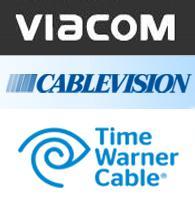 Loga společností Viacom, Cablevision a Time Warner Cable