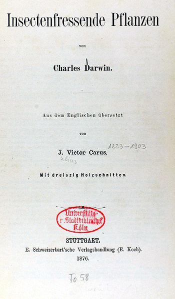 Německé vydání Darwinových Masožravých rostlin